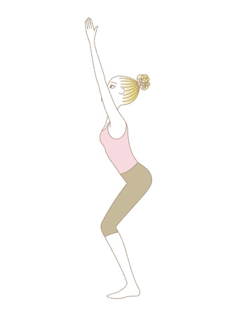 Yoga exercise, yoga pose, woman in Chair Pose Illustration