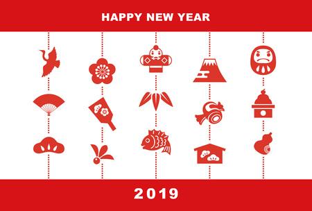 2019 New Year card illustration with pine leaf, bamboo leaf, plum flower, red snapper, crane, spinning top, hand fan, tumbling doll and kite.