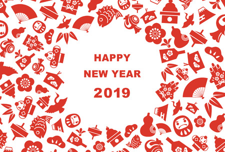 New Year card for year 2019 with Japanese new year good luck elements Vettoriali