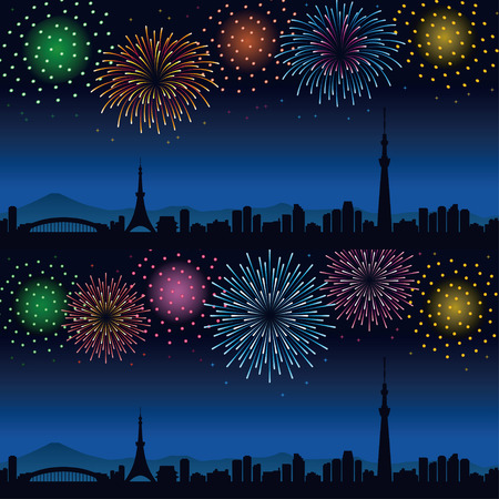 Fireworks and cityscape of Tokyo at night Banque d'images - 100591795