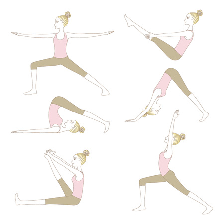 Set of yoga poses such as Low Lunge; Warrior Pose; Heron Pose; Downward facing dog Pose and Plow Pose isolated on white background Illustration