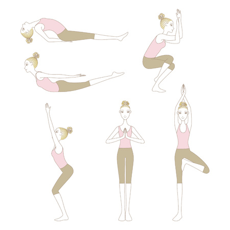 Set of yoga poses such as Locust Pose, Fish Pose, Mountain Pose, Tree Pose, Eagle Pose and Chair Pose isolated on white background Illustration