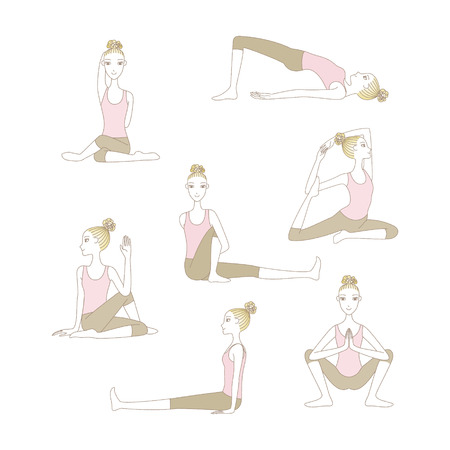 Set of yoga poses such as Cow Face Pose�Half Lord of the Fishes Pose, Garland Pose, Pegeion Pose, Marichi's Pose, Bridge Pose and Staff Pose isolated on white background
