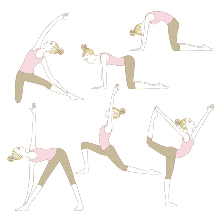Set of yoga poses such as Cow Pose, Cat Pose, Lord of the Dance Pose, Gate Pose, Extended Triangle Pose and Warrior Pose isolated on white background