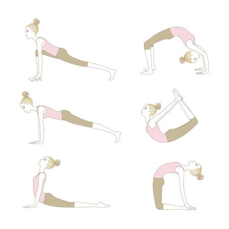 Set of yoga poses such as Cobra Pose, Upward-facing dog pose, Plank Pose, High Lunge Pose, Camel Pose, Wheel Posem and Bow Pose isolated on white background