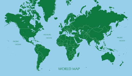 World map, Mercator projection with boundary line