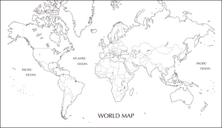 World map, Mercator projection blank map with boundary line Vettoriali