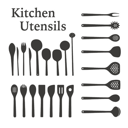 Kitchen Utensils silhouette illustration set Archivio Fotografico - 121825345