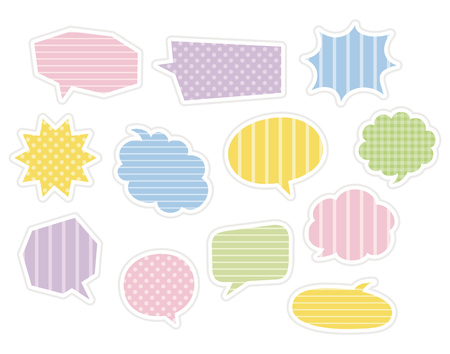 Colorful markup balloons with pattern, stripes, polka dots, plaid  イラスト・ベクター素材