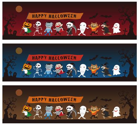 Halloween monsters parade, Jack o lantern, Dracula, Frankenstein, werewolf, Witch, Mummy, Zombie, Skeleton, Pumpkin Men, Ghost