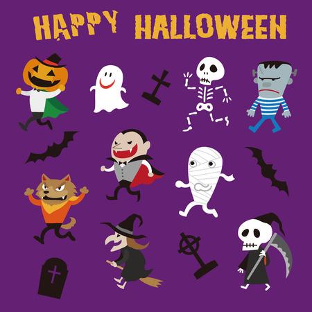 Halloween monsters illustration, Jack o lantern, Dracula, Frankenstein, werewolf, Witch, Mummy, Zombie, Skeleton, Pumpkin Men, Ghost
