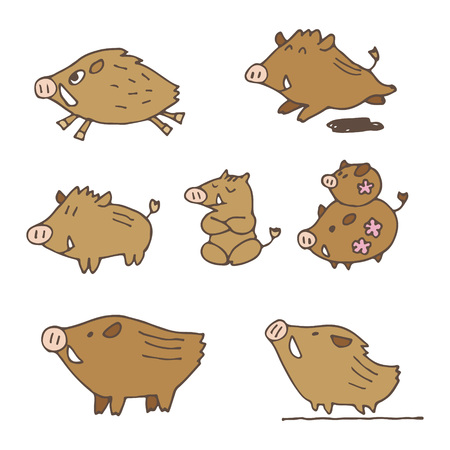 Hand-drawn cute boars new year illustrations