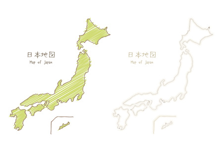 Map of Japan, hand-drawn sketch blank map  translation of Japanese Map of Japan  イラスト・ベクター素材