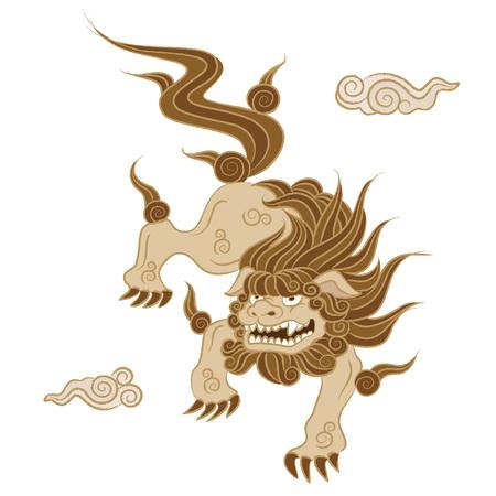 Guardian lion dog Japanese traditional style illustration Ilustrace