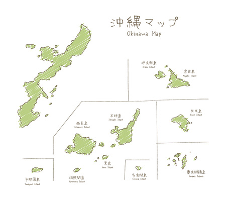 Hand drawn sketch map of Okinawan islands on white background