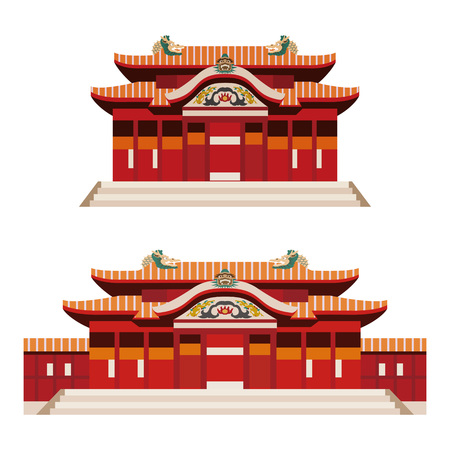 Illustration of castle (Shuri castle) in Okinawa, Japan on white background Illustration