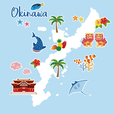 Okinawa travel map with local specialties (Shisa; tropical fruits; whale shark; hibiscus; palm tree; coral; tropical fish; starfish; strong Okinawan liquor; manta ray)