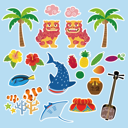 Okinawa illustration with local specialty, Shisa, tropical fruits, whale shark, hibiscus, palm tree, coral, tropical fish, manta ray, hat decorated with flower, sanshin; Okinawan traditional three-stringed instrument