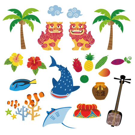 Illustration d'Okinawa avec spécialité locale, Shisa, fruits tropicaux, requin baleine, hibiscus, palmier, corail, poisson tropical, raie manta, chapeau décoré de fleur, sanshin ; Instrument traditionnel à trois cordes d'Okinawa Vecteurs