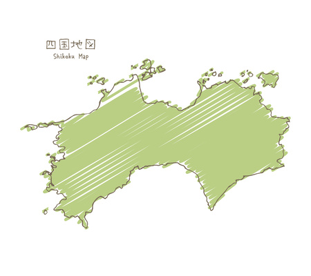 Hand-drawn shikoku sketch map, the smallest of the four main islands of Japan