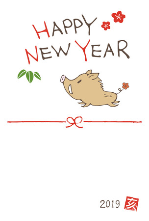 New year greeting card with a cute boar (wild pig) for year 2019