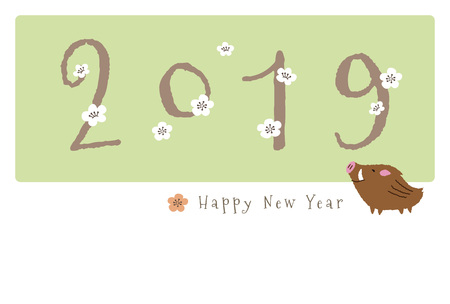 New Year card with cute wild pig and plum flowers for year 2019 写真素材 - 127292942