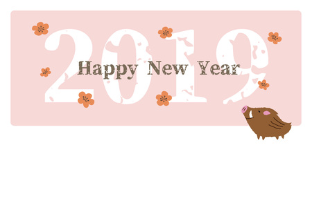 New Year card with cute wild pig and plum flowers for year 2019 写真素材 - 127292943