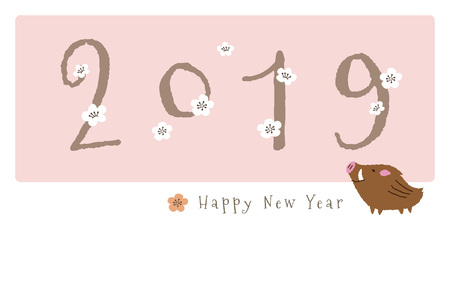 New Year card with cute wild pig and plum flowers for year 2019
