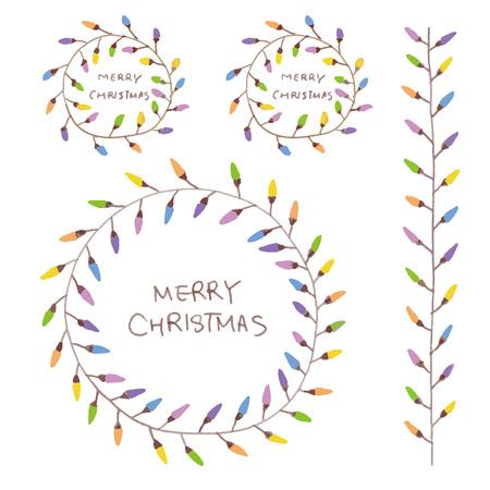 hand drawn colorful Christmas wreath with light bulbs  イラスト・ベクター素材