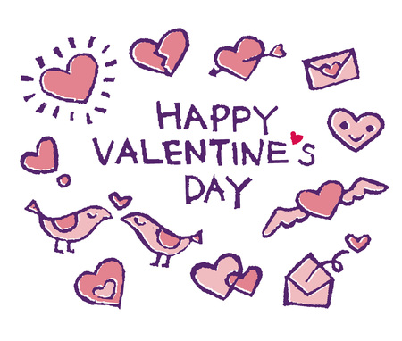 Cute Valentine hearts, love letters and so on, stamp illustrations 写真素材 - 126530082