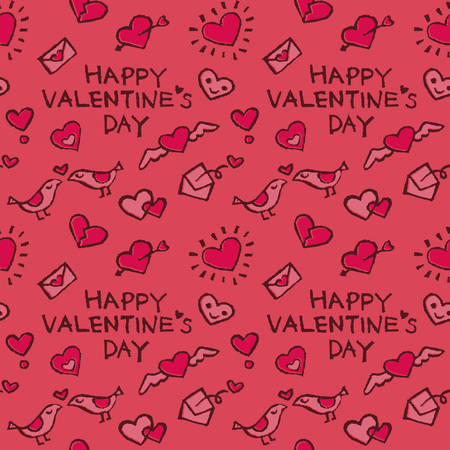 Background pattern with valentine elements, hearts, love letters and birds on pink background