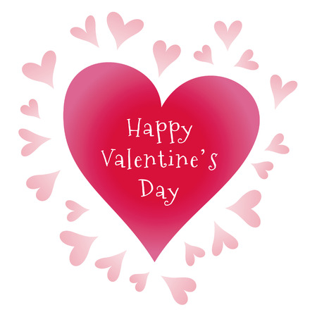 Valentines Day greeting with multiple hearts, greeting card