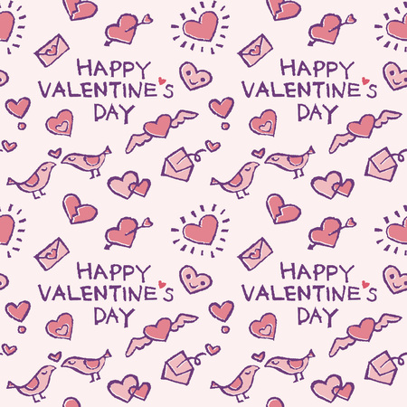 Background pattern with valentine elements, hearts, love letters and birds on light pink background