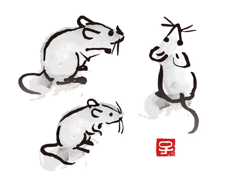 Indian ink brush painting mouse and rat illustration with red seal with Chinese zodiac symbol Çizim