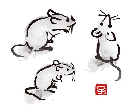 Pennello a inchiostro indiano che dipinge un topo e un'illustrazione di ratto con sigillo rosso con simbolo dello zodiaco cinese Vettoriali
