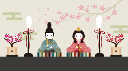 Dolls Festival, cute doll illustration with floral background