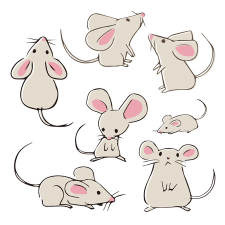 Cute hand-drawn mouses with different poses on white background 写真素材 - 125686336