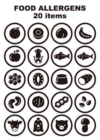 Food allergens 20 items icon set, orange, kiwi fruits, peach, banana, apple, squid, salmon, mackerel, salmon roe, abalone, gelatin, yams, cashew nut, walnuts, soybeans sesame, beef, chicken, pork and