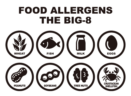 Eight major food allergens, wheat, fish, milk, eggs, peanuts, soybeans, tree nuts and crab Illustration