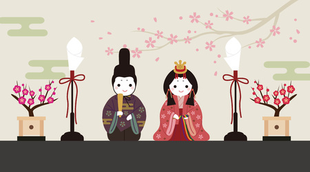 Dolls Festival, cute standing doll illustration with floral background