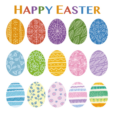 Colorful easter egg illustration with hand drawn patterns