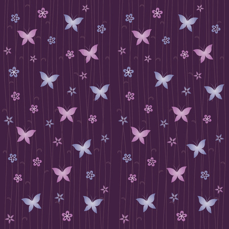 Butterfly and flower, Japanese style pattern on purple background  イラスト・ベクター素材