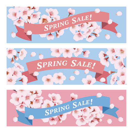Spring sale banners with Cherry blossoms and ribbon