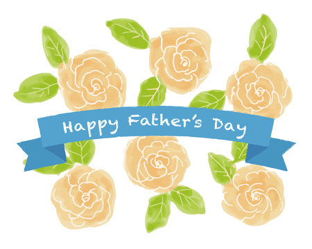 Father's day yellow roses illustration
