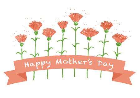 Ilustracja z życzeniami z czerwonego goździka na dzień matki