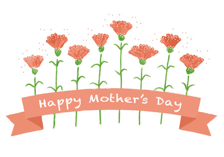 Mother's day red carnation greeting card illustration Stock Illustratie