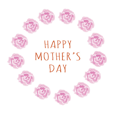 Mother's day greeting with watercolor pink carnation