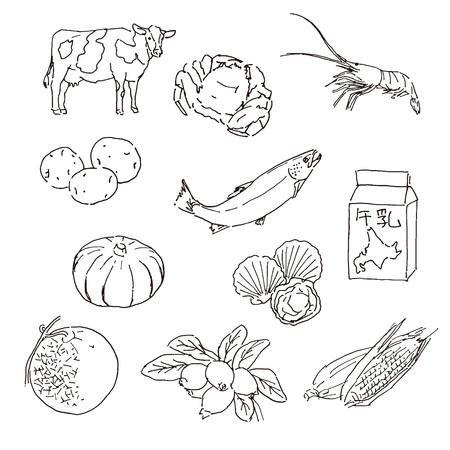 Hokaido, northern island of Japan - local specialty foods  イラスト・ベクター素材