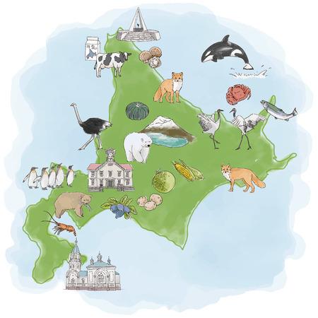 北海道観光名産水彩イラストマップ 矢量图像