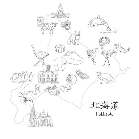 Hokkaido, Northern island of Japan - travel map black and white sketch illustration  translation of Japanese Hokkaido  イラスト・ベクター素材
